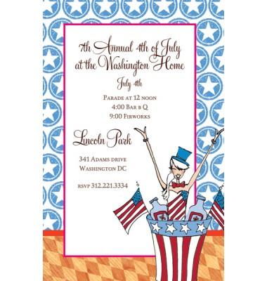 Patriotic Invitations, Aunt Sam, Bella Ink