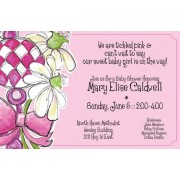 Baby Shower Invitations, Girl Rattle with Pink Daisy