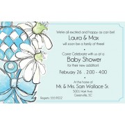 Baby Shower Invitations, Boy Rattle with Blue Daisy