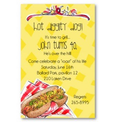 BBQ Invitations, Hot Diggity Dog