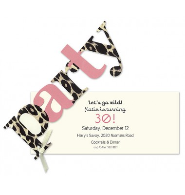 Party invitations, Flocked Party Leopard, Anna Giffin