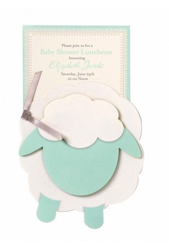 Baby Shower Invitations, Lamb Blue