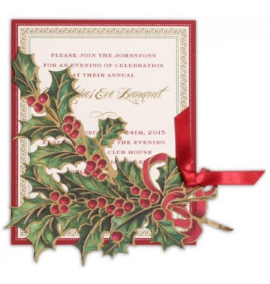 Christmas Invitations, Holly Foil Die Cut, Anna Griffin
