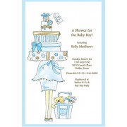 Baby Shower Invitations, Stack Of Gifts Blue, Rosanne Beck
