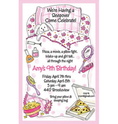Sleepover Invitations, Pink Sleeping Bag, Rosanne Beck