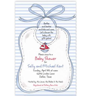 Baby Shower Invitations, Blue Bib, Rosanne Beck