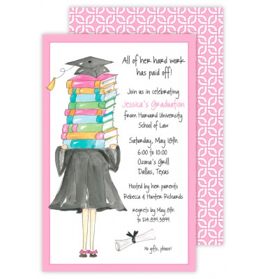 Graduation Invitations, Girl Grad with Books, Rosanne Beck
