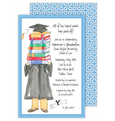 Graduation Invitations, Grad On Books Blue, Rosanne Beck