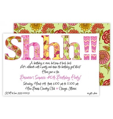 Surprise Party Invitations, Shhh, Rosanne Beck