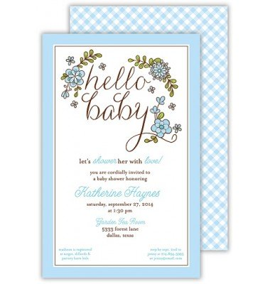 Baby Shower Invitations, Hello Baby Blue, Beck