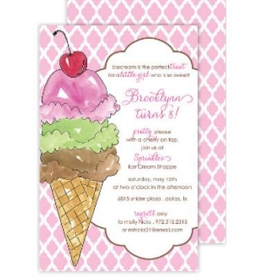 Ice Cream Invitations, Three Scoops, Rosanne Beck Invitations