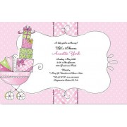Baby Shower Invitations, Carriage Of Gifts Pink, Beck