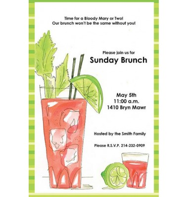 Brunch Invitations, Bloody Mary, Rosanne Beck