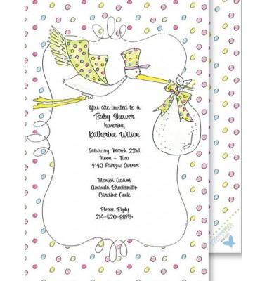 Baby Shower Invitations, Stork, Beck