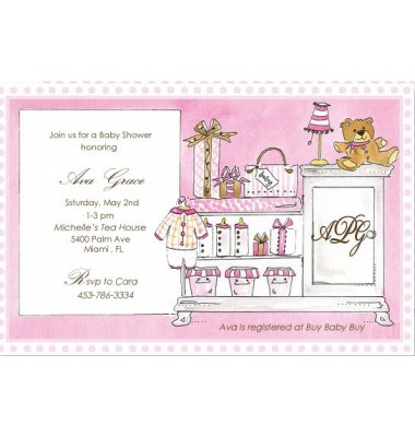 Baby Shower Invitations, Baby Room Pink, Rosanne Beck