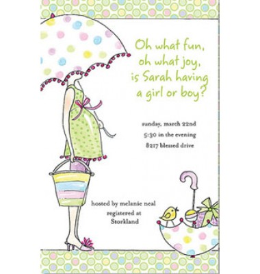 Baby Shower Invitations, Green, Pink and Blue Polka Dots, Rosanne Beck