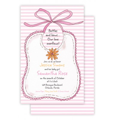 Baby Shower Invitations, Bib Pink, Beck