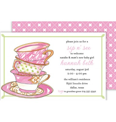 Tea Party Invitations, Stack Of Teacups, Rosanne Beck