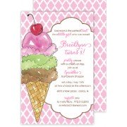 Ice Cream Invitations, Three Scoops, Rosanne Beck Invitations