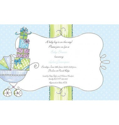 Baby Shower Invitations, Carriage of Gifts Blue, Beck