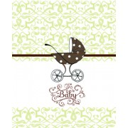 Baby Shower Thank You Cards, Brown Baby Buggy