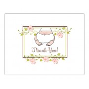 Baby Shower Thank You Cards, Baby Bottom Pink, Bella Ink