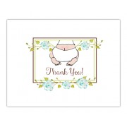 Baby Shower Thank You Cards, Baby Bottom Blue, Bella Ink