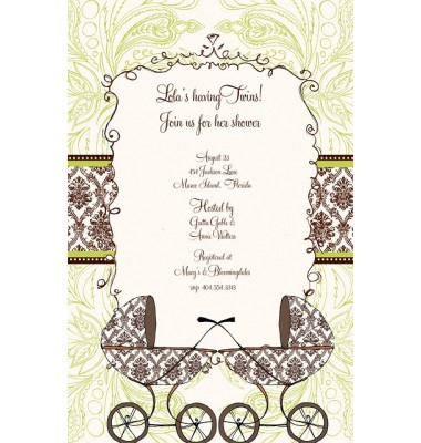 Twin Baby Shower Invitations, Doubly Blessed Buggies, Bella Ink