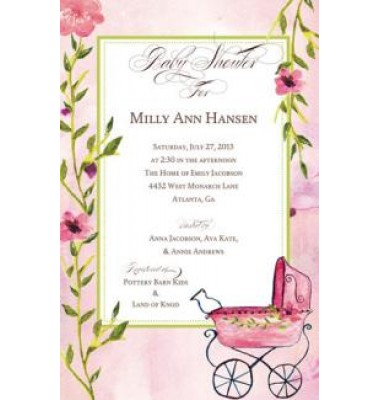 Baby Shower Invitation, Buggy Pink, Bella Ink
