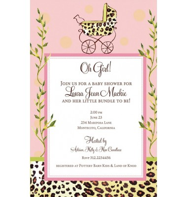 Baby Shower Invitations, Leopard Carriage Girl, Bella Ink
