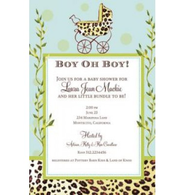 Baby Shower Invitations, Leopard Carriage Boy, Bella Ink