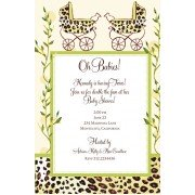 Twin Baby Shower Invitations, Twin Leopard Baby Buggies, Bella Ink