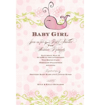 Baby Shower Invitations, Whale Pink, Bella Ink