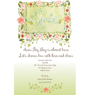 Shower Invitations, Orange Roses Marquee, Bella Ink