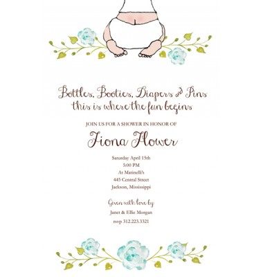 Baby Shower Invitations, Baby Bottom Boy, Bella Ink