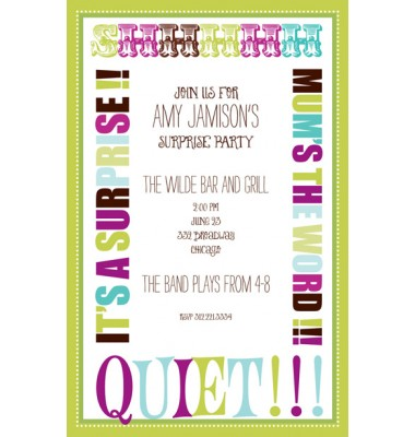 Surprise  Party Invitations, Mum's the Word, Bella Ink
