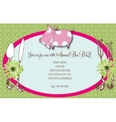BBQ Invitations, Piggy, Bella Ink