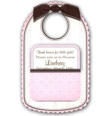 Baby Shower Invitations, Baby Bib Pink, Anna Griffin