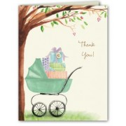 Baby Shower Thank You Cards, Bassinet Green