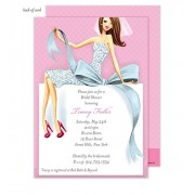 Bridal Shower Invitations, Beautiful Bride with Bow - Brunette