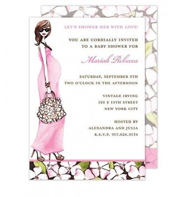 Baby Shower Invitations, Fashionable Mom Pink