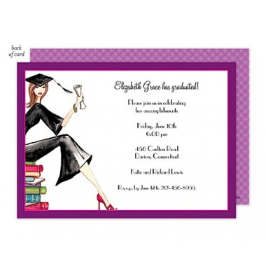 Graduation Invitations, Grad on Books , Bonnie Marcus