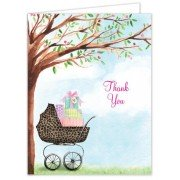 Baby Shower Thank You Cards, Leopard Print Carriage, Bonnie Marcus