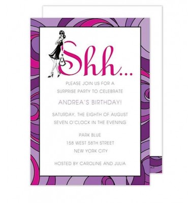 Surprise Party Invitations, Shhh, Bonnie Marcus