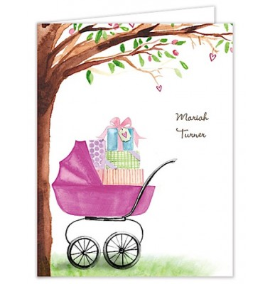Baby Shower Thank You  Cards,  Bassinet Pink, Bonnie Marcus