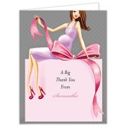 Baby Shower Thank You Cards, Expecting a Big Gift Girl - Brunette