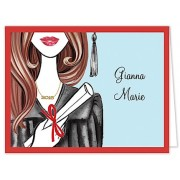 Graduation Thank You Cards, Glamorous Grad - Brunette, Bonnie Marcus