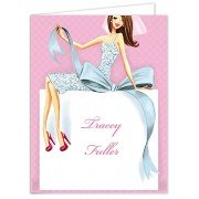 Bridal Shower Thank You Cards, Beautiful Bride with Bow - Brunette