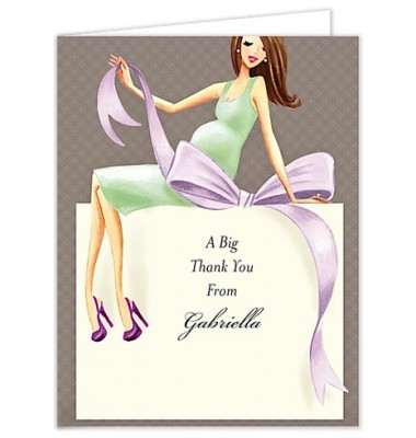 Baby Shower Thank You Cards, Expecting a Big Gift Neutral - Brunette