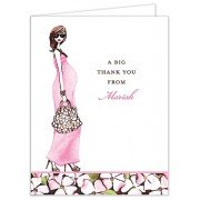 Baby Shower Thank You Cards, Fashionable Mom Pink